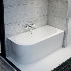 Como Freestanding Offset Corner Bath - 1700 x Small Bathroom With Tub, Big Bathrooms, Bathroom Renos, White Bathroom, Freestanding Corner Bath, Corner Tub, New House Plans, Bath Design, Bathroom Styling