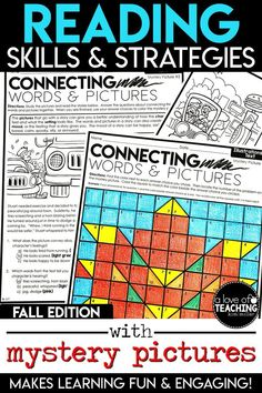 Students will love practicing important reading skills and strategies with these fall-themed color-by-code mystery picture grids!  Need a day off or a sick day at home? This is a great resource to leave for a substitute!  Reading skills include:   Stories, Dramas & Plays - RL.3.5, RL.4.5 Illustrations in Text - RL.3.7, RL.4.7 Ask & Answer Questions - RI.3.1, RI.4.1 Time & Sequence  - RI.3.3, RI.4.3 Cause & Effect - RI.3.3, RI.4.3 Comparing Two Texts on Same Topic - RI.3.9, RI.4.9