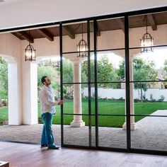 These doors! Steel Pocket Sliding Doors - mediterranean - patio - orange county - by Euroline Steel Windows French Doors Patio, French Patio, Modern Patio Doors, French Door Windows, Sliding Windows, Sliding Patio Doors, Front Doors, Aluminium Sliding Doors, Barn Doors