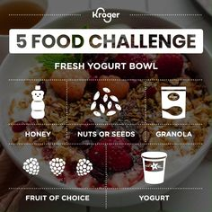 Put aside the pantry food and dive into this yogurt bowl for a true breakfast of champions. 🏆Check out the shoppable recipe for a quick and easy breakfast! Ingredients: honey, chia seeds, granola, berries and vanilla yogurt. Vegetarian Breakfast, Breakfast Bowls, Brunch Recipes, Breakfast Recipes, Chia Jam Recipe, Yogurt Bowl, Granola Cereal, Food Challenge, Vanilla Yogurt