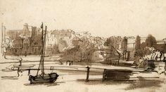 Rembrandt. Harmensz van Rijn (1606-1669) Widok St. Anthoniessluis w Amsterdamie, ok. 1640 Pióro w tonie brązowym, lawowanie w tonach brązowych i miejscami szarym tuszem;  papier; 13,0 x 22,7 cm. Nr inw. MNG/SD/679/R