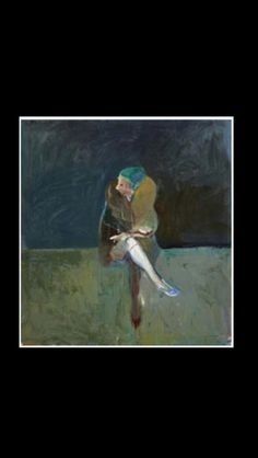 """Nathan Oliveira - """" Seated woman with fur collar """", 1961 - Oil on canvas - 137,2 x 127 cm."""