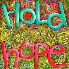 Hold Onto Hope Inspirational Art Print 10x10 or por karladornacher