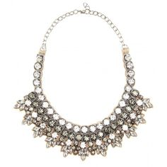Valentino Crystal-Embellished Necklace ($715) ❤ liked on Polyvore featuring jewelry, necklaces, accessories, collares, metallic, white necklace, grey necklace, valentino jewelry, collar jewelry and white collar necklace