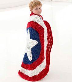 This Captain America shield crochet blanket is amazing!