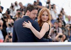 """James McAvoy Jessica Chastain Photos - Actors James McAvoy and Jessica Chastain attend """"The Disappearance of Eleanor Rigby"""" photocall at the 67th Annual Cannes Film Festival on May 18, 2014 in Cannes, France. - """"The Disappearance Of Eleanor Rigby"""" Photocall - The 67th Annual Cannes Film Festival"""