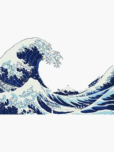 The Great Wave off Kanagawa, Handmade Cyanotype Print on Watercolor Paper, Limit. - The Great Wave off Kanagawa, Handmade Cyanotype Print on Watercolor Paper, Limited Serie – # Che - No Wave, Great Wave Off Kanagawa, Image Tumblr, Wave Drawing, Watercolor Wave, Waves Wallpaper, Japanese Waves, Tumblr Stickers, Phone Stickers