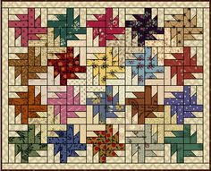 Free Buzzsaw Quilt Pattern from Quilters Cache. I like the dark border. Also called tessellation stars. Batik Quilts, Jellyroll Quilts, Scrappy Quilts, Easy Quilts, Small Quilts, Mini Quilts, Colorful Quilts, Paper Piecing Patterns, Quilt Block Patterns