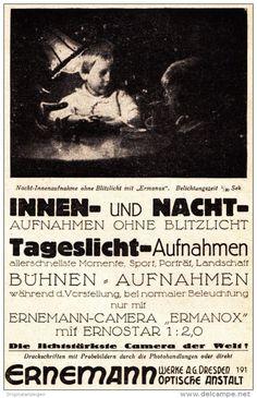 Original-Werbung/ Anzeige 1925 - ERNEMANN CAMERAS - DRESDEN - ca. 90 x 140 mm
