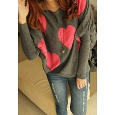 Casual Heart Printed Dolman Sleeve Sweater for Women