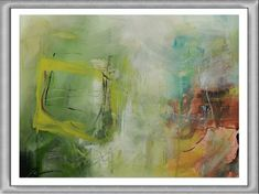 Motive: abstract Green Mile Material: Acrylic on paper Canson Montval 48 x 36 cm Picture with frame and passepartout. Shops, Etsy Shop, Vintage, Abstract, Green, Painting, Art, Summary, Art Background