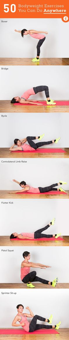 50 Bodyweight Exercises You Can Do Anywhere — Do these bodyweight moves anytime, anywhere. #exercise #fitness #workout #greatist