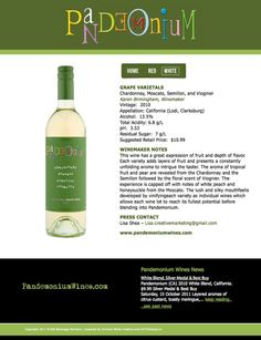 Pandemonium Wines - White - Launched Late 2011