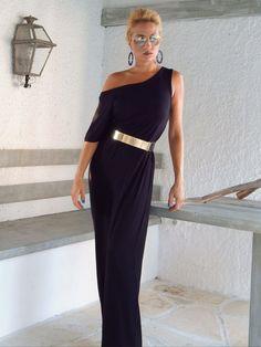 Maxi abito viscosa / Black Kaftan / asimmetrica Plus Size