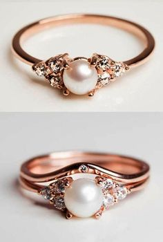 I love the top ring!!  Pearl and Diamond Rose Gold Engagement Ring Diamond Alternative Engagement Rin