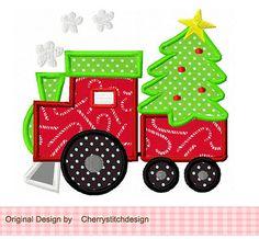 Navidad tren bordado apliques diseño 4 x 4 5 x 5 6 x 6
