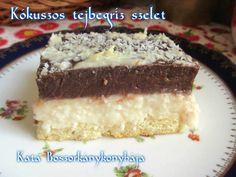 Kókuszos tejbegríz szelet (Gluténmentesen is) Vanilla Cake, Tiramisu, Ale, Food And Drink, Cookies, Baking, Dinner, Ethnic Recipes, Sweet