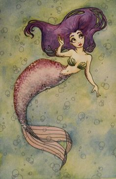 Purple haired mermaid