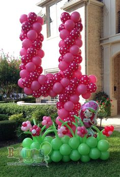 strawberry shortcake birthday balloon sculpture