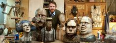 Thaddeus Erdahl with some of his fantastic sculptures.
