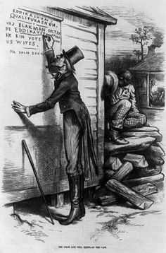 "Editorial cartoon criticizing the usage of literacy tests for African Americans as a qualification to vote. Cartoon shows Uncle Sam writing on wall, ""Eddikashun qualifukashun. The Black man orter be eddikated afore he kin vote with US Wites, signed Mr. Solid South."" Illustration in: Harper's Weekly, v. 23 (1879 Jan. 18"