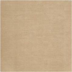 Hand-crafted Solid Pale Gold Casual Ridges Wool Rug (9'9 Square)