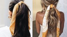 Bruna Ribeiro: CABELO: PENTEADOS COM LENÇOS Bandana, Hair Styles, Beauty, Hairstyles With Scarves, Different Hairstyles, Scarf Hair, Horse Tail, Hair Type, Curly