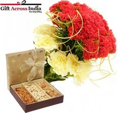 Mix Carnations with the pack of Dry Fruits.