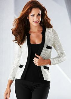 Creme & black piped foil woven sweater jacket