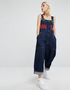 House Of Holland X Lee Oversized Dungarees With Logo,Dark Blue