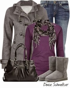 Fall Outfit With Toggle Coat,Scarf and Casual Jeans