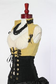 Yellow and black cropped vixen and victorian underbust corset pair. $139