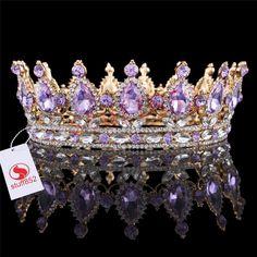 Teardrop Violet Rhinestone Full Crown Wedding Bridal Gold Plating Tiaras Party