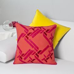 Bright cushion cover with embroidery work  #home #bright #embroidery #homedecor #geomterical #abstract  Send your enquiries to orders@zebaworld.com  Shop at www.zebaworld.com