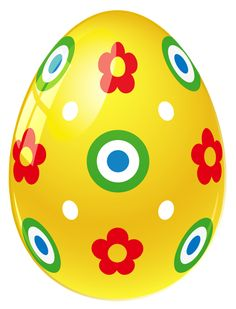 Yellow Easter Egg with Flowers PNG Picture