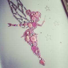 Tinkerbell Fairy Disney Gift Framed Swarovski button crystal