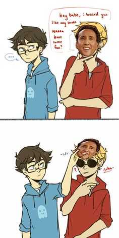 Dave and john ... And nick cage :P (Homestuck)