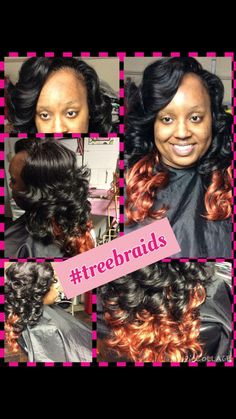 #fiercehair#treebraids#red #black#protectivestyle #softcurls#booknow www.glam-hair-studio.com