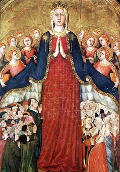 Lippo Memmi painted this Madonna Della Misericordia for the Chapel of the Corporal in the Cathedral in Orvieto, Italy in Major benefactors of the Cathedral are depicted under Our Lady's mantle along with a group of Dominican nuns. Lady Madonna, Madonna And Child, Religious Paintings, Religious Art, Religious Icons, Web Gallery Of Art, Images Of Mary, Jesus Christus, Queen Of Heaven