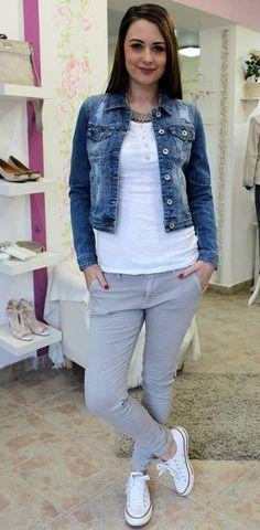 Grey trousers Grey Trousers, Trouser Jeans, Vest, Denim, Jackets, Fashion, Gray Slacks, Down Jackets, Moda