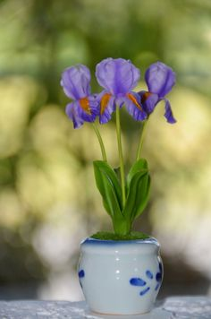 Handcrafted Small Purple Iris Flowers Dollhouse by ClayOrchids, $7.50