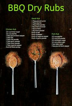 Jazz up your BBQ with rubs for pork, chicken and steak. Using common spices, you can make a standard meal a standout meal for your friends and family.: Jazz up your BBQ with rubs for pork, chicken and steak. Using common spices, you can make a Homemade Spices, Homemade Seasonings, Homemade Gifts For Men, Diy Gifts For Men, Homemade Bbq, Spice Rub, Spice Mixes, Spice Blends, Bbq Dry Rub
