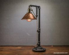Industrial Table Lamp - Edison Bulb Lamp - Table Lamp - Industrial Lighting - Copper Shade - Desk Lamp - Rustic - Iron Pipe - Barn Light