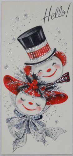 #1243 50s Unused Mid Century Glittered Snowman Couple-Vtg Christmas Card