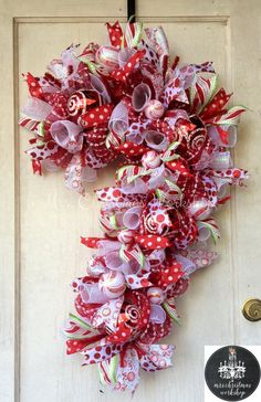 Candy cane Christmas wreath deco mesh by MrsChristmasWorkshop