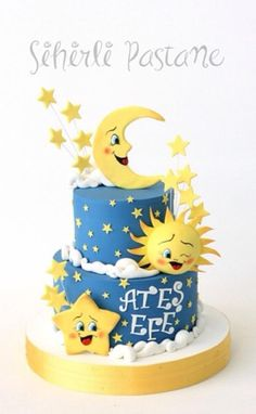 Moon Sun and Star Cake by Sihirli Pastane