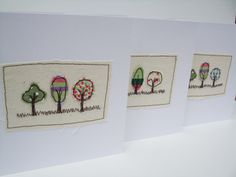 Three little trees card - Machine Embroidered