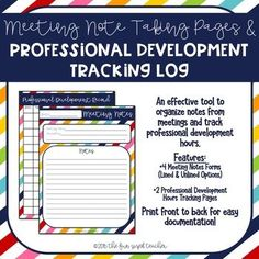 This product includes 8 templates for taking notes during staff and other teacher meetings throughout the year in a fun rainbow stripe pattern. It also includes two different forms to track your professional development hours throughout the year. Black line masters are included for
