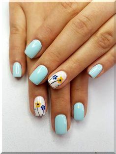 Flower Nail Designs, Cute Nail Art Designs, Nail Designs Spring, Cute Acrylic Nails, Cute Nails, Pretty Nail Art, Dream Nails, Diy Nails, Manicure Ideas