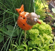 Keramikvogel Gartenkeramik Dekoobjekt handmade gepunktet Keramikfigur